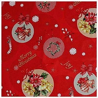 Wachstuch Tischdecke Gartentischdecke mit Fleecerücken Gartentischdecke, Pflegeleicht Schmutzabweisend Abwaschbar Weihnachten Blumen in Kreisen Rot - Größe wählbar von Moderno bei Gartenmöbel von Du und Dein Garten