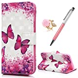 J3 Case 2017 MAXFE.CO for Samsung J3 2017 Case Premium 3D Patterned PU Leather Case Cover Flip Wallet Case for Samsung Galaxy J3 2017 (J330) with Wrist Strap Card Holder & One Touch Pen & One Dust Plug, Flower & Butterfly