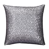 Indexp Glitter Sequins Solid Color Pillowcase Home Decor Sofa Cushion Cover (Grey)