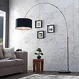 Stehleuchte Bogenlampe BONA ausziehbar 170-180cm Leinen schwarz