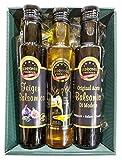 """Präsentkorb """"Dreier"""" mit Feigen-Balsamico 250 ml, Senföl kaltgepresst 250 ml und Original Aceto Balsamico di Modena 250 ml"""