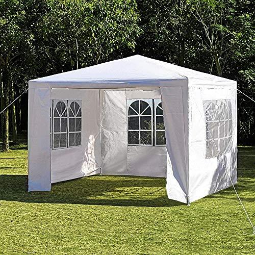 Yaheetech Festzelt 3 x 3 m Bierzelt Gartenpavillon mit 3 Seitenteilen, Partyzelt Pavillon Marktzelt mit benötigen Zubehör wasserdicht für Garten Terrasse Feier Markt Weiß