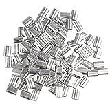 Fusd 100pz 1.5mm cavo fune metallica maniche alluminio ovale a forma di clip di piegatura anellini argentato