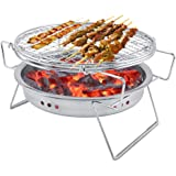 Garosa Mini Barbecue À Charbon en Acier Inoxydable Pliant Portable Rond Poêle De Barbecue pour Cuisine en Plein Air Camping Randonnée Pique-Nique Randonnée