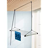 SYNERGY - (6 Pipes x 4 Feet) - Heavy Duty - Stainless Steel Ceiling Clothes Hanger/Cloth Dryer with UV Protected Nylon…