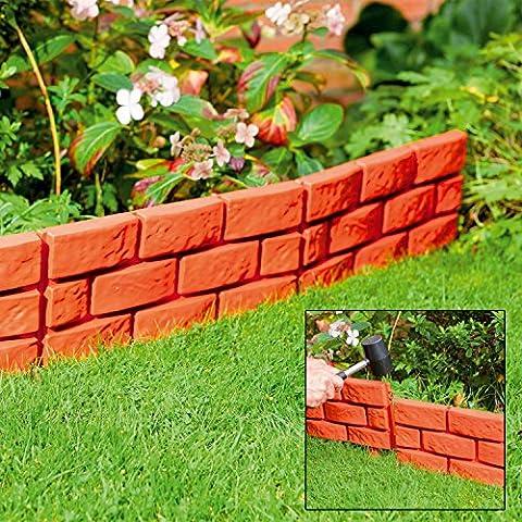 Parkland® Rasenkante in Ziegelsteinoptik, Pflanzbordüre, einfach zum Einklopfen, terracotta, 4 (Brick Rasenkanten)