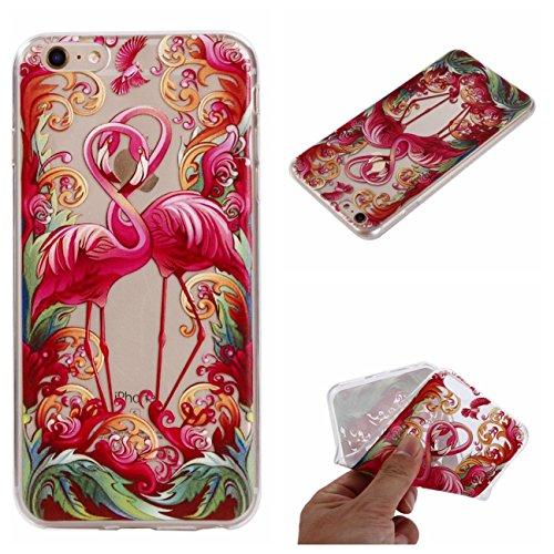 Cover iPhone 6S, Voguecase Custodia Silicone Morbido Flessibile TPU Custodia Case Cover Protettivo Skin Caso Per Apple iPhone 6/6S 4.7(Grande fiore rosa 01) Con Stilo Penna Coppia flamingo