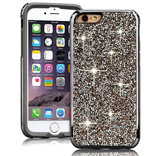 SMART LEGEND iPhone 6 Plus/ iPhone 6S Plus Weiche Silikon Hülle TPU Bumper & PC Backcover Glitzer Diamant Handyhülle Schutzhülle Bling Crystal Kirstall Clear Etui Ultra Slim Design Glatt Weich Handyta Schwarz