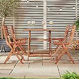 VonHaus Wooden Table and 4 Chair Set - Folding Garden & Patio Dining Furniture Set (80 x 80cm)