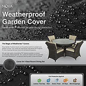 61rC3oxi8tL. SS300  - Nova Outdoor Living Weatherproof Cover for Large 4 Seat Round Dining Set, Black, Garden Table Chairs Patio Furniture PVC Protector