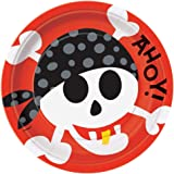 Unique Party- Platos de Papel Fiesta Pirata, 8 Unidades (40495)