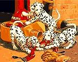 [ Holzrahmen oder nicht] Malen nach Zahlen Neuerscheinungen Neuheiten - DIY Gemälde durch Zahlen, Malen nach Zahlen Kits - Drei Niedlich Dalmatiner Hund 16 * 20 Zoll Leinen Segeltuch - digitales Ölgemälde Segeltuch Wand Kunst Grafik für Heim Wohnzimmer Büro Decor Decorations Geschenke - DIY Farbe durch Zahl DIY Segeltuch-Kit für Erweiterte Erwachsene Kinder Senioren Junior - Neue Ankunfts ( Mit Rahmen)