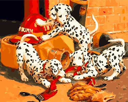 [ Holzrahmen oder nicht] Malen nach Zahlen Neuerscheinungen Neuheiten - DIY Gemälde durch Zahlen, Malen nach Zahlen Kits - Drei Niedlich Dalmatiner Hund 16 * 20 Zoll Leinen Segeltuch - (Dalmatiner Kit)