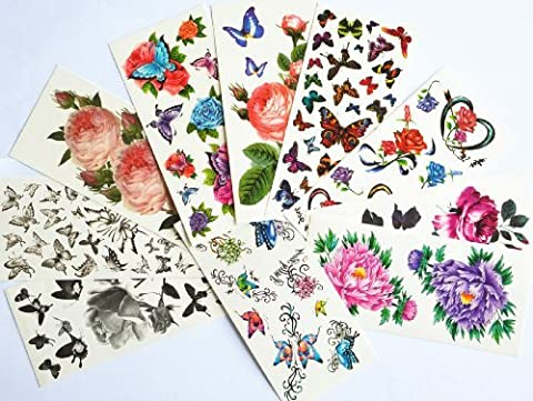 10pcs/package hot selling temporary tattoo stickers various designs including colorful flowers and butterflies/red roses/red peony/black flowers and black butterflies/etc. by Combine Temporary tattoos