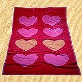Burrito Blanco Toalla de Playa/Toalla de Piscina 176 Grande Algodón 100% Tacto de Terciopelo de 95x170 cm Estampado de Corazones, Rosa