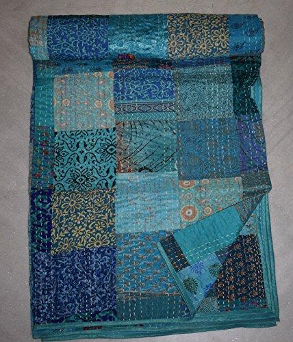 Indian Silk Patola Kantha Quilt Vintage Baumwolle Tagesdecke Patchwork Gudri (Quilt Werfen Patch Decke)