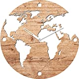 Eurographics World on Wood Wanduhr, Glas, Braun, 55 x 55 x 3.5 cm,