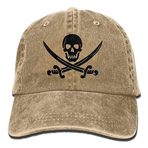 Rghkjlp Männer & Frauen Schädel Schwerter Pirat Einstellbare Vintage Washed Denim Baumwolle Papa Hut Baseballmütze Natürliche Fashion23