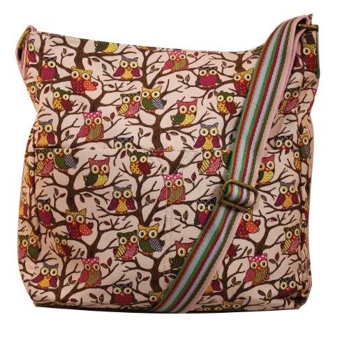 Girly Handbags - Sac bandloulière avec imprimés rétro hiboux - Rose