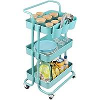 alvorog Chariot de Service Desserte, Chariot de Cuisine avec Panier de Rangement à 3 Tablettes avec 4 Crochets, Chariot…