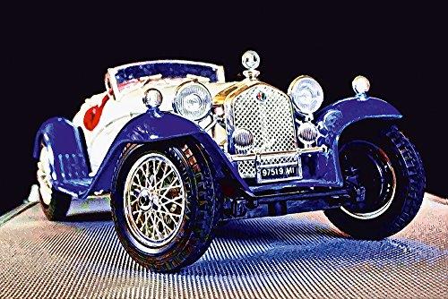 Artland Qualitätsbilder I Bild auf Leinwand Leinwandbilder Wandbilder 90 x 60 cm Fahrzeuge Auto Digitale Kunst Bunt C8OQ Alfa Romeo 2300 Spider aus Dem Jahr 1932 (Spider 2300)