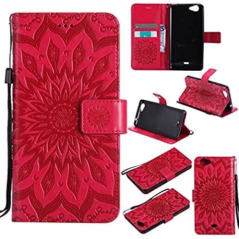 Wiko Slide Case Leather, Ecoway Sun flower embossed pattern PU Leather Stand Function Protective Cases Covers with Card Slot Holder Wallet Book Design Detachable Hand Strap for Wiko Slide -