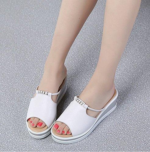 0b30f020e8cc8 Tongs Sandales Claquettes Compensées Fille Plage Été De Femme Confortable  Blanc Mules Chaussures Minetom qSTUXx