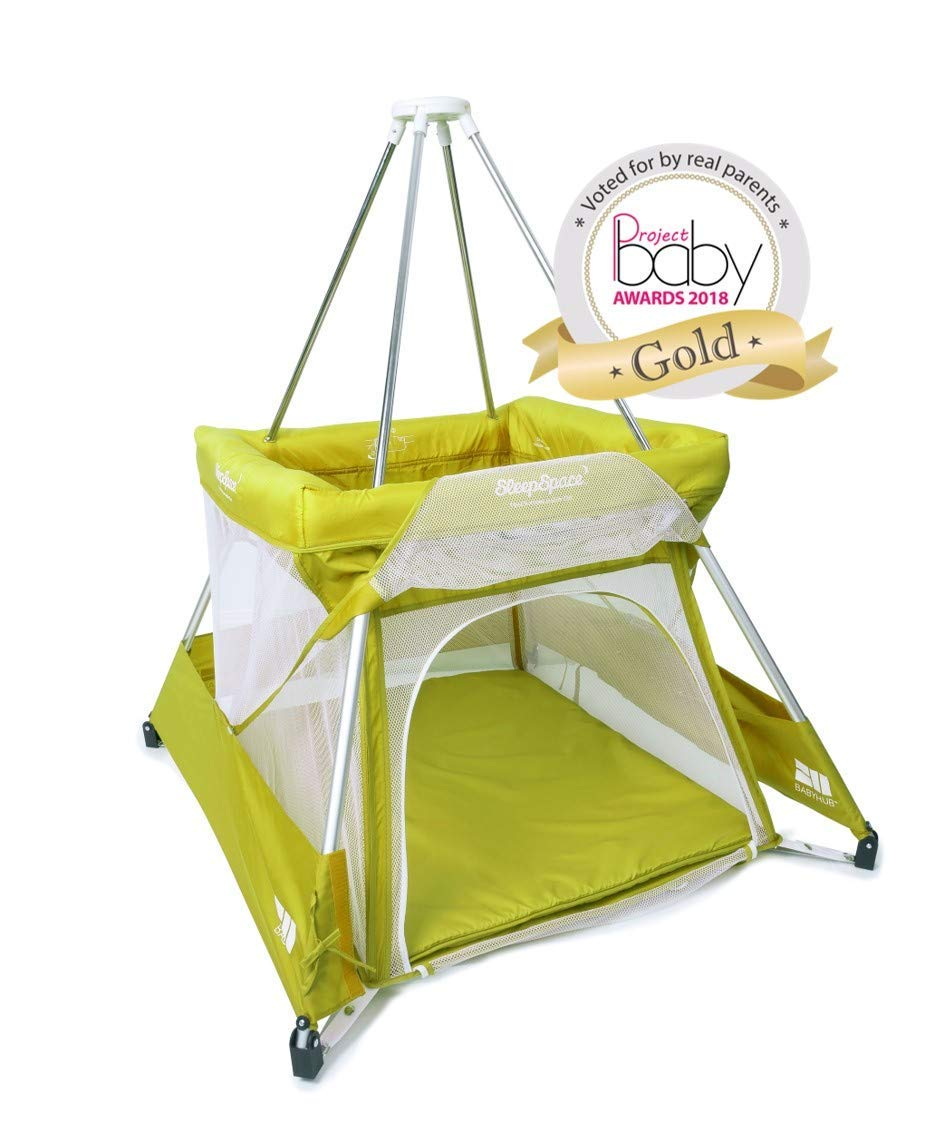 BabyHub Travel Cot with Circus Tepee and Mosquito Net, Green BabyHub A travel cot, mosquito proof space and reuse as a play tepee Lightweight and easy to put up and fold in seconds Includes extra padded seam-free mat for comfort 1