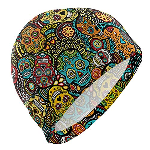 kappe Mexican Sugar Skulls Halloween Lycra Swim Cap Swimming for Women Men ()