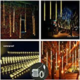 [Batteriebetriebene und USB-Anschluss] LED Meteorschauer Regen Lichter, 11,8 Zoll 8 Tubes 144 LEDs anschließbare für Garten-Hochzeit im Freien Dekor