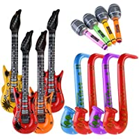 NUOLUX 12pccs inflables de juguete inflable guitarra saxofón micrófono música parte Prop (Color al azar)