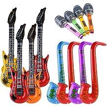 NUOLUX 12pccs inflables de juguete inflable guitarra saxofón micrófono música parte Prop ...