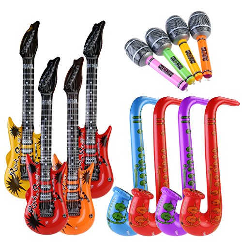 Aufblasbare Mikrofone (NUOLUX Aufblasbare Prop,Aufblasbare Gitarre musikalische Instrumente Spielzeug, 12 Stück (zufällige)