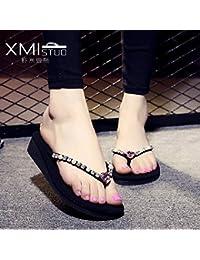 XIAMUO 2018 Sommer Mode koreanischen Flip-Flop weiblich Slip Hecken Sandalen und Hausschuhe Cute Strass Sandaletten 37 M Mittlerer Velvet Black Diamond Light Green Diamond