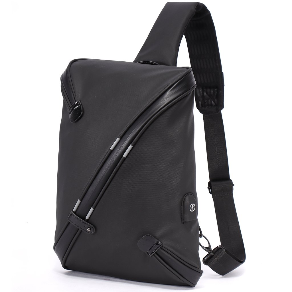 Bolso Cruzado Grande para Hombre – Mochila de Bandolera con USB Carga Antirrobo, All-in-One Diseño Sling Bag de Moda y Único, Crossbody Impermeable de Poliéster – Negro