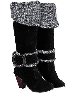 311cb7162224 Minetom Femme Automne Hiver Genoux Boots Talon Haut Boucle Bottes Chunky  Talon Biker Bottes