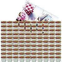 MamboCat 100er Set Sturzglas 230 ml Marmeladenglas Einmachglas Einweckglas To 82 Obst Dekor Deckel incl. Diamant-Zucker Gelierzauber Rezeptheft