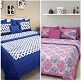Suraaj Fashion Cotton Jaipuri Double Bedsheet With Pillow Covers (Multicolour) - Combo Set Of 2