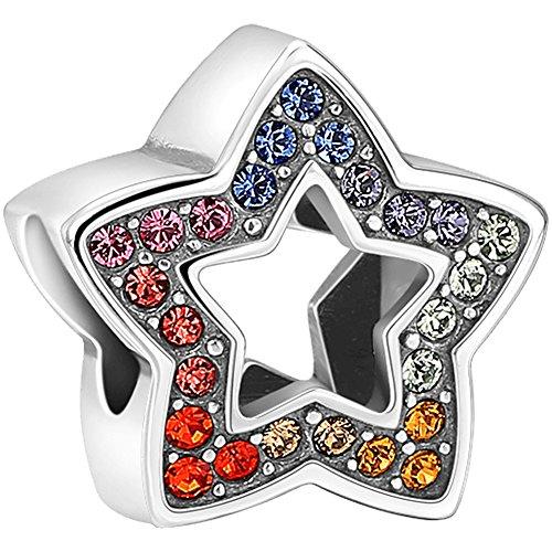 Soufeel Damen Bead Charm Anhänger mit Swarovski Kristalle Farbenfroh Sterne 925 Sterling Silber Geschenk für Frau Mädchen