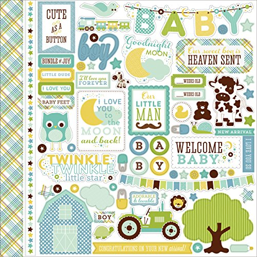 Echo Park Paper Bundle of Joy/A New Addition Baby Boy Element Karton-Aufkleber, 30,5 x 30,5 cm (Of Paper-bundle Park Echo Joy-boy)