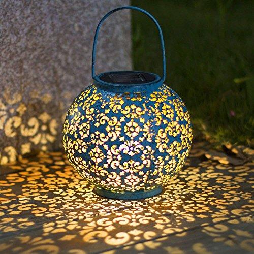 Solarlaterne für außen,TAKEMEURO Blau Solarlampe für Außen Gartendeko Solar Gartenlaterne
