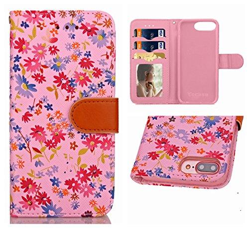 Voguecase® Pour Apple iphone 7 Plus 5,5 Coque, Étui en cuir synthétique chic avec fonction support pratique pour iphone 7 Plus 5,5 (motif lumineux-Vert)de Gratuit stylet l'écran aléatoire universelle Petit floral-Pink
