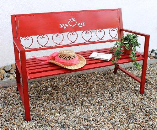 Bank Passion Metall rot B 120 cm Gartenbank Sitzbank 2-Sitzer