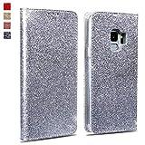 OKZone Galaxy S9 Hülle, Luxus Glitzer Bling Premium PU Leder Handyhülle Brieftasche-Stil Magnetisch Folio Flip Etui Brieftasche Hülle Schutzhülle Tasche Case für Samsung Galaxy S9 (Silber Grau)