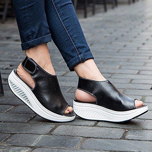 DAFENP Femmes Summer Beach Chaussures Shape-Ups Cuir Confort Peep Toe Wedge Épais Sole Sandals Compensées Noir
