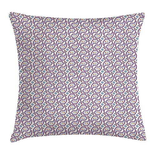 Paisley Decor Throw Pillow Cushion Cover, Raindrop Pattern with Flowers Sunflakes and Royal Ornament Ending, Decorative Square Accent Pillow Case, 18 X 18 Inches, Purple Blue and Yellow