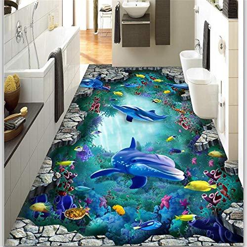 Fototapete 3D Effekt Benutzerdefinierte Boden Malerei 3D Unterwasserwelt Delphin Schildkröte 3D Stereo Malerei Wohnzimmer Shopping Hotel Boden Malerei 400X280Cm