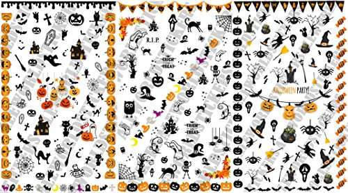 Aws multipack 3 foglietti nail art water decals halloween party unghie adesivi strega sheet stickers transfer dolcetto scherzetto trick treat pumpkin fantasma caramella zucca (halloween multipck)