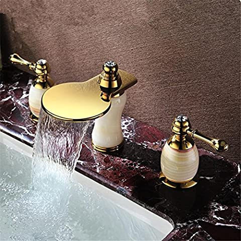 Modylee Nuovo arrivo lussuoso ottone dorato marmo pietra 8 pollici diffuso bagno rubinetto Rubinetti