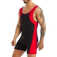 Agoky Men's U Neck Sleeveless Bodybuilding Leotard Top Boyshort Jumpsuit Wetsuit Wrestling Singlet